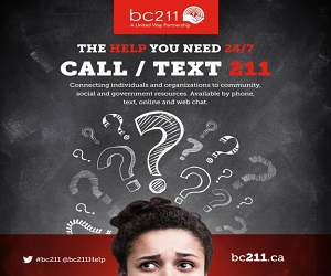 bc211 is a nonprofit organization that specializes in providing free information and referral regarding community, government and social services in BC.